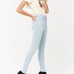 F21 light wash stretchy jeans